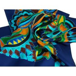 SILK SCARF OLIV-BLUE