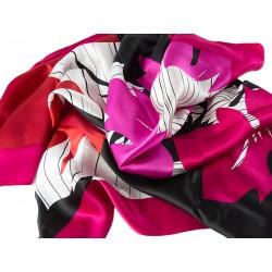 SILK SCARF FLOWER-RED